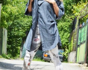 Extravagant Dark Gray Linen Shirt, Maxi Long Asymmetric Shirt, Loose Buttoned Top, Oversize Shirt by SSDfashion