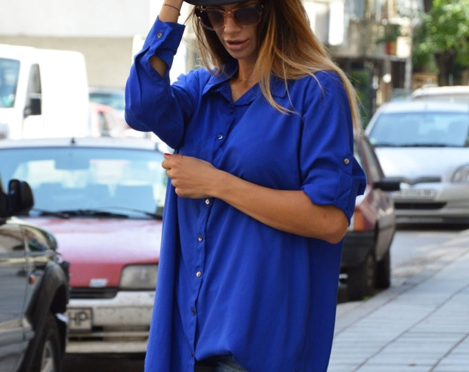 Maxi Blue Shirt, Plus Size Shirt, Extravagant Long Shirt, Asymmetric Cotton Tunic, Oversize Sexy Top By SSDfashion