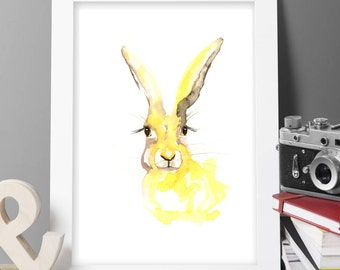 warecolour hare ART PRINT Original LIMITED Edition Signed bunny On Watercolour Thick 300 gsm Paper Free Shipping To United Kingdom