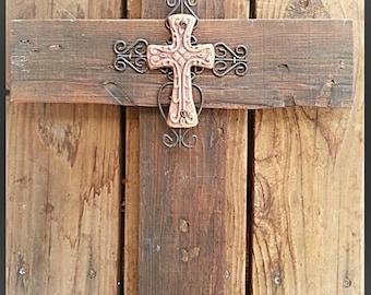 Rustic Wood Cross, wall decor