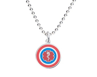 "Surgeon Captain Jr. 316L 1"" Medical Alert ID Pendant Necklace w/ Ball Chain-Free Engraving,  Wallet Card, Apps-5786"