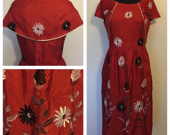 Original Vintage 1960's Handmade Red Silk Dress with Black and White Embroidery Flowers and folded Collar. Day Dress, Size: Medium.