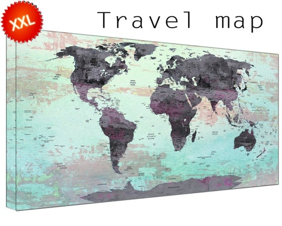 world map pin board canvas wall art art print large  world map pinboard with countries home Office Decor print on canvas wall art