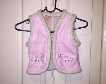 Pink Suede Girls Vest Size 4
