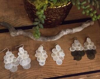 Capiz Shell Chandelier Dangly Earrings