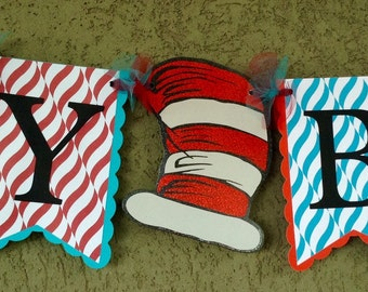 Handmade Dr. Seuss The Cat In The Hat Happy Birthday Banner