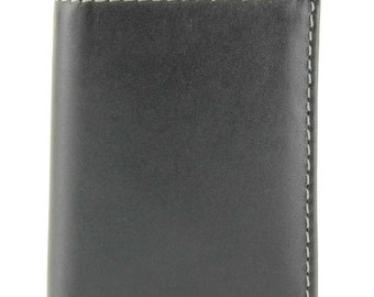 Personalized black wallet custom engraved gift tri-fold leather groomsman father son #17