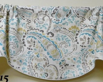 Kravet Tousey Pool By Thom Filicia- Window Valance / Corded, Lined, Scalloped Rod Pocket Valance/ Linen