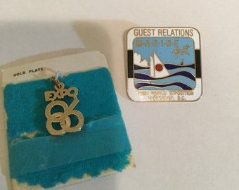 Expo 86 vintage pendant and Guest relations Marine plaza 1986 World Exposition Vancouver BC enamel originalpin badge