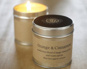 St Eval Scented Candle Tin in a variety of Scents Orange and Cinnamon Joy Inspiritus Sea Salt Tranquility Sensuality Thyme and Mint Fig Tree