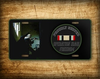 Operation Iraqi Freedom Veteran License Plate ~PROUDLY SERVED~ service stripe badge military Iraq Veterans auto tag METAL 6x12 Aluminum