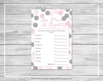 Pink and Silver Baby Shower Price Is Right Game - Printable Baby Shower Price Is Right Game - Pink and Silver Glitter Baby Shower - SP123
