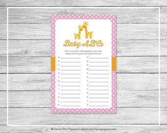 Giraffe Baby Shower Baby ABCs Game - Printable Baby Shower Baby ABCs Game - Pink Giraffe Baby Shower - Baby ABCs Game - Shower Game - SP129