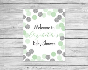 Mint and Silver Baby Shower Welcome Sign - Printable Baby Shower Welcome Sign - Mint and Silver Glitter Baby Shower - EDITABLE - SP125