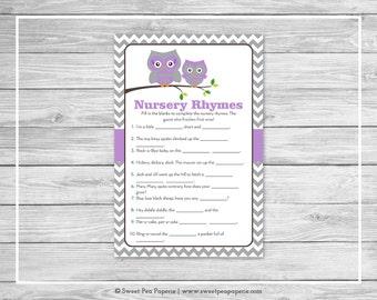 Owl Baby Shower Nursery Rhyme Game - Printable Baby Shower Nursery Rhyme Game - Purple Owl Baby Shower - Nursery Rhymes Shower Game - SP136