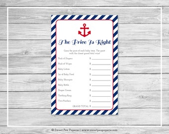 Nautical Baby Shower Price Is Right Game - Printable Baby Shower Price Is Right Game - Navy Red Baby Shower - Price Is Right Game - SP118