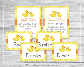 Rubber Ducky Baby Shower Table Signs - Printable Baby Shower Table Signs - Rubber Duck Baby Shower - Shower Signs - EDITABLE - SP121
