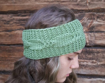 Hand knit headband hand knitted headband knit earwarmer knitted headwarmer cable headband cable earwarmer headwarmer knit green headband
