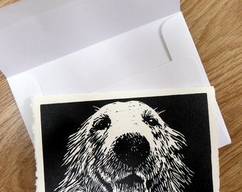 Linocut Greeting Card, Block Print Card, Animal Card