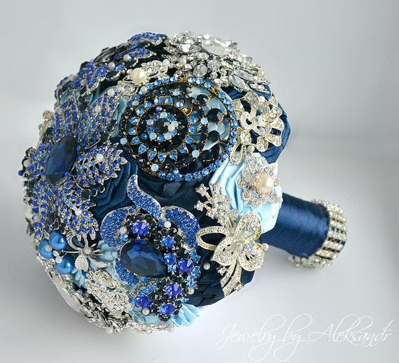 Royal Blue Wedding Brooch Bouquet Bridal By BouquetbyAleksandr