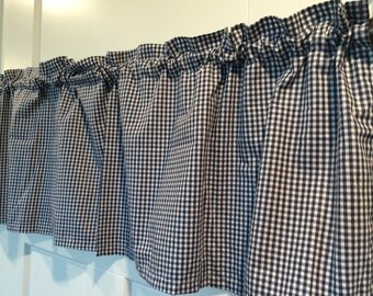 Navy and white small gingham kitchen Curtain Valance