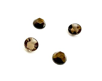 10 Pieces Genuine Smokey Quartz Cabochons, High Dome, Faceted, Vintage, 7mm Round
