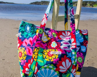 Large Beach Bag/tote - Multicolour Flowers