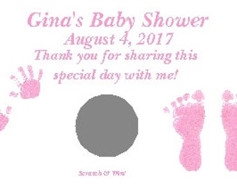 Personalized Baby Shower Scratch Off Ticket Baby Boy or Girl Baby Hands and Feet
