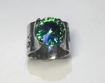 Stethoscope ID Ring Custom & Handmade with an Iridescent  Aquamarine Vintage Swarovski Crystal