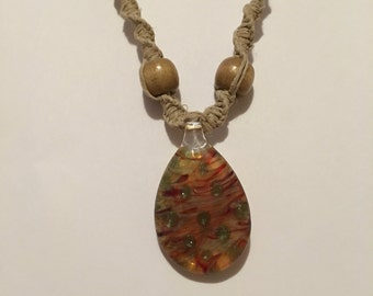 Handmade hemp necklace with blown glass pendant boho gypsy hippie pyrex boro