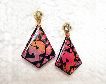 PINK EARRINGS - Earrings Handmade,Earrings Dangle,Modern Earrings,Resin Jewelry,Pink Earrings Dangle,Resin Earrings,Inspirational Earrings