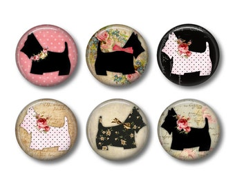 Scottie Dog Fridge Magnets, Funny Fridge Magnets, Fridge Magnets, Kitchen Magnets, Dog Lover Gift, Fridge Magnet Set, Cute Fridge Magnets