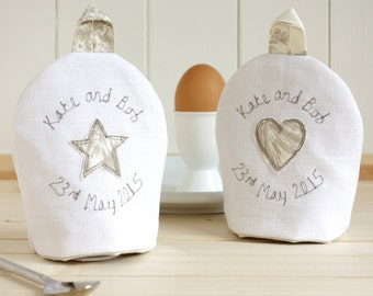 Pair Of Egg Cosies - Personalised Egg Cup Cosies - Embroidered Boiled Egg Covers - Kitchen Decor - 2nd Anniversary Gift - 4th Anniversary