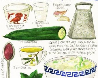 Custom Food or Recipe Watercolor Painting