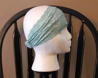 Sea blue lace headband, lace bandana, stretchy lace hair accessory