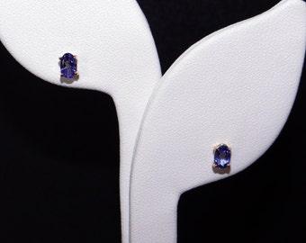 Beautiful 14k Yellow Gold .50ct Oval Cut Tanzanite Button Stud Earrings