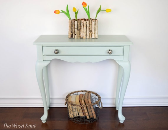 Green Foyer Table : Entryway table green mint chalk paint with new knobs side