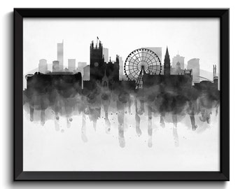Manchester Skyline England Europe Cityscape Art Print Poster Black White Grey Watercolor Painting