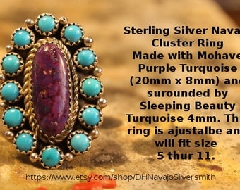 Mohave Purple Turquoise and Sleeping Beauty Cluster ring