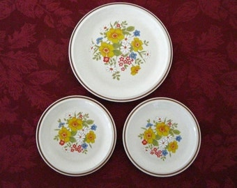 """Casual Elegance HEARTHSIDE STONEWARE, BORDEAUX, 1 Dinner Plate 10 1/2"""" and 2 Salad Plates 7 3/4"""",  Excellent Condition !  Great Gift Idea !"""