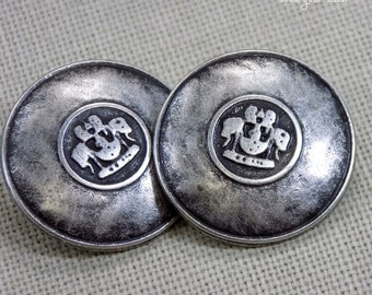 Large Metal Shield Buttons_ Set of 2, 7/8inch