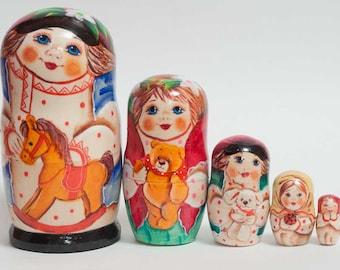 Nesting dolls for kids little Boy with Horse matryoshka - #41AA