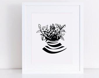 plant print, botanical print, botanical printable, organic print, nature print, botanical art, botanical plant, pot and plant, black design