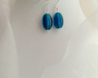 Blue and Silver Lined Opaque Czech Glass Dangle Earrings