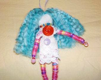 wish granted doll, hanging doll, one of a kind handmade doll, decoration,positive energy doll