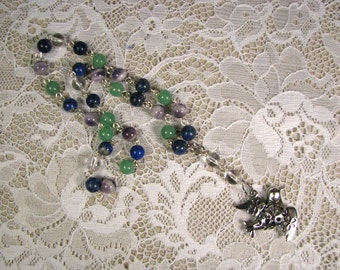 Anglican Prayer Beads-Rosary-Multi color gemstone-Dove-Handwired