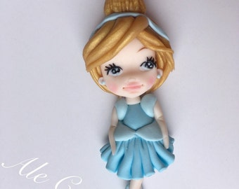 Cinderella pendant necklace, handmade with fimo