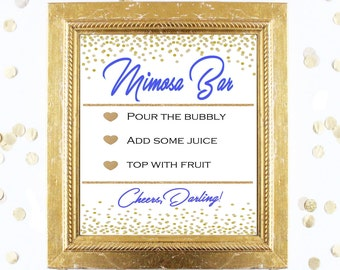 Bridal Shower Game Sign - Mimosa Bubbly Bar Sign - BLUE and GOLD - Instant Printable Digital Download - Birthday Party Printable