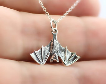 HANGING BAT NECKLACE - 925 Sterling Silver - Bat Jewelry Bat Wings Charm Gothic