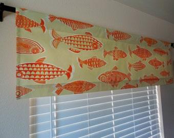 Fish valance window valance window curtains kitchen valance window topper window treatment lake house decor